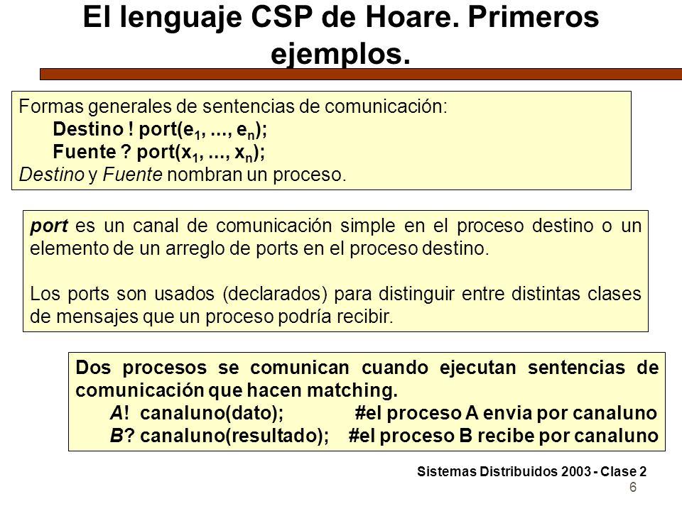 6 El lenguaje CSP de Hoare. Primeros ejemplos. Formas generales de sentencias de comunicación: Destino ! port(e 1,..., e n ); Fuente ? port(x 1,..., x