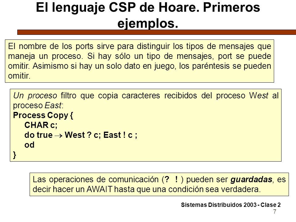 7 El lenguaje CSP de Hoare. Primeros ejemplos. El nombre de los ports sirve para distinguir los tipos de mensajes que maneja un proceso. Si hay sólo u