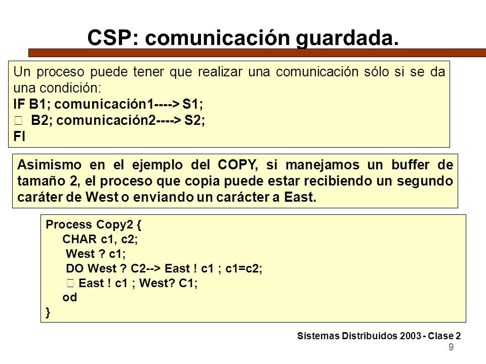 9 CSP: comunicación guardada. Un proceso puede tener que realizar una comunicación sólo si se da una condición: IF B1; comunicación1----> S1;  B2; co