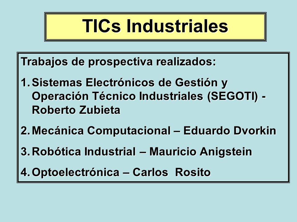 TICs Industriales Trabajos de prospectiva realizados: 1.Sistemas Electrónicos de Gestión y Operación Técnico Industriales (SEGOTI) - Roberto Zubieta 2