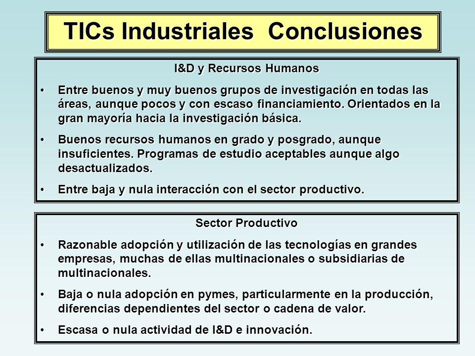 TICs Industriales Conclusiones I&D y Recursos Humanos Entre buenos y muy buenos grupos de investigación en todas las áreas, aunque pocos y con escaso