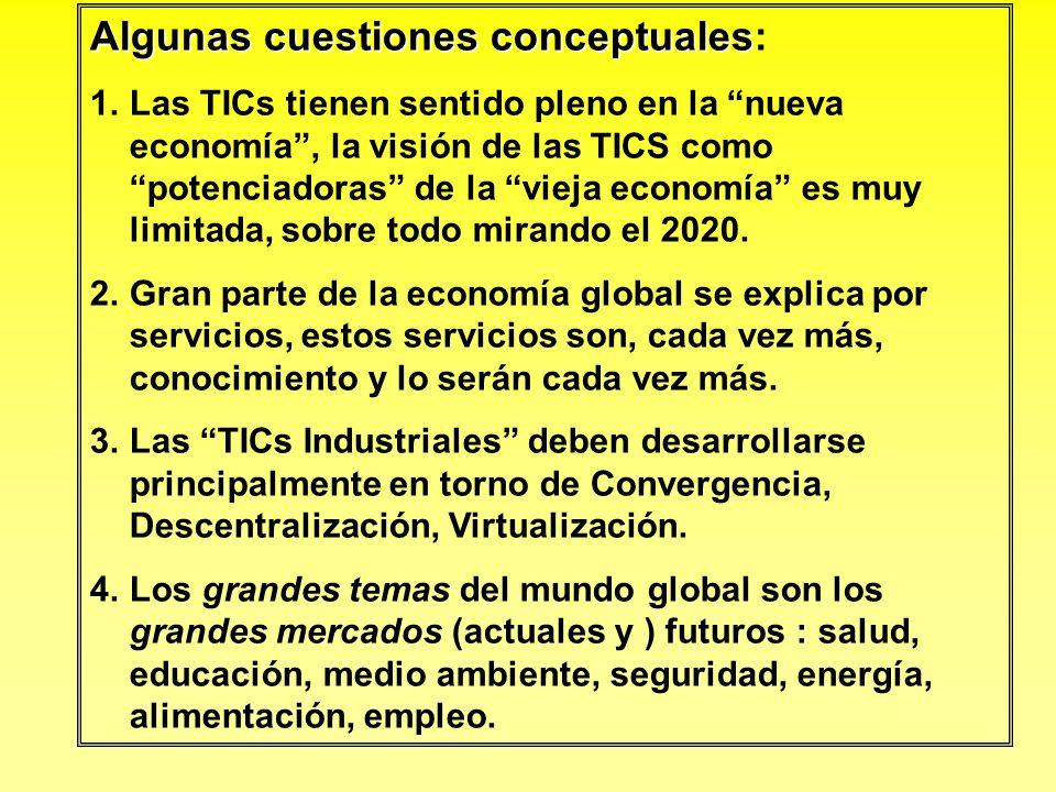 Algunas cuestiones conceptuales Algunas cuestiones conceptuales: 1.Las TICs tienen sentido pleno en la nueva economía, la visión de las TICS como pote
