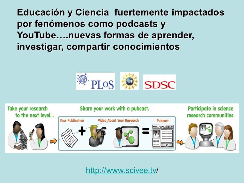 http://www.scivee.tvhttp://www.scivee.tv/ Educación y Ciencia fuertemente impactados por fenómenos como podcasts y YouTube….nuevas formas de aprender,