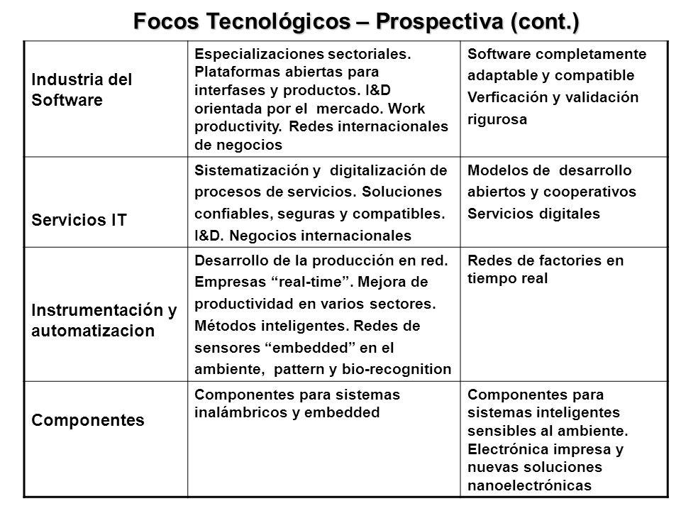 Industria del Software Especializaciones sectoriales. Plataformas abiertas para interfases y productos. I&D orientada por el mercado. Work productivit