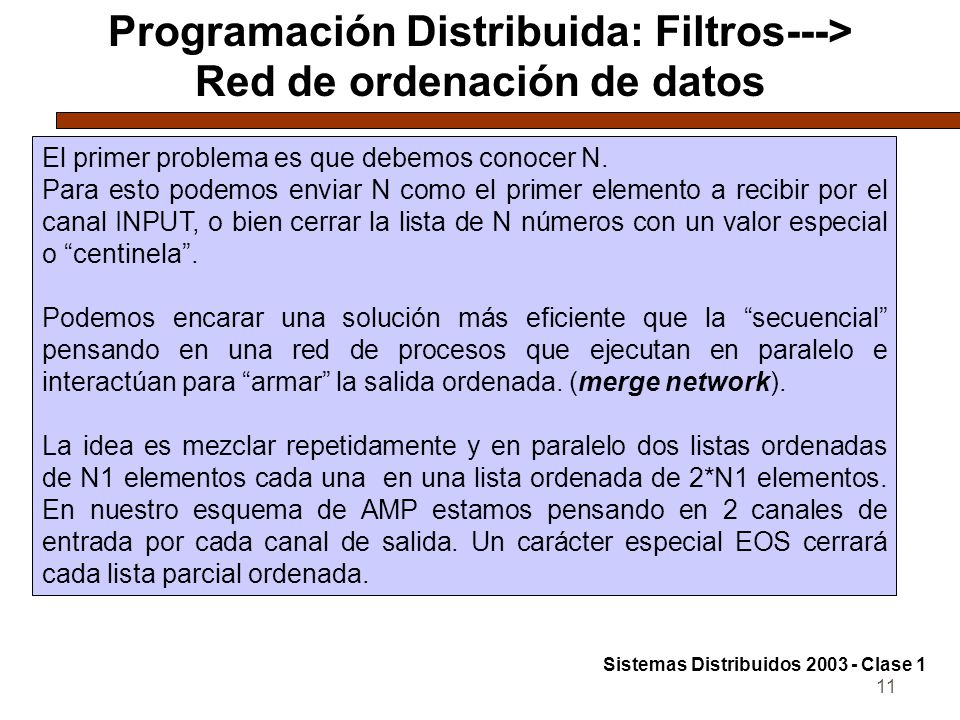 11 Programación Distribuida: Filtros---> Red de ordenación de datos El primer problema es que debemos conocer N.