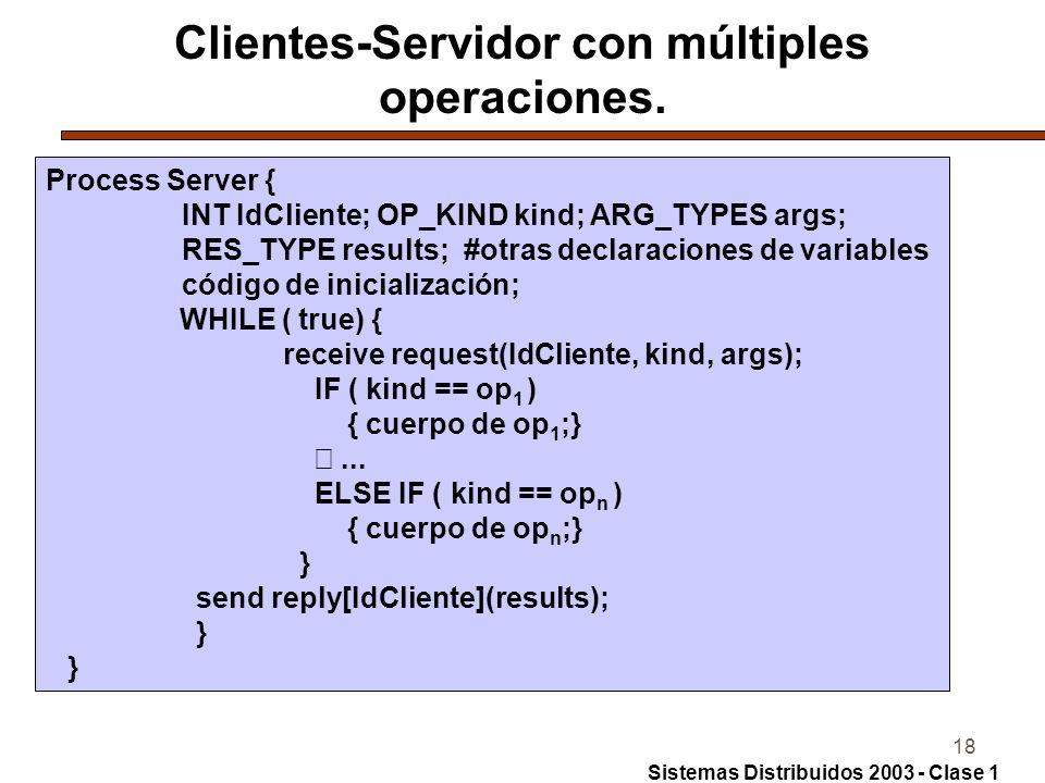18 Clientes-Servidor con múltiples operaciones.