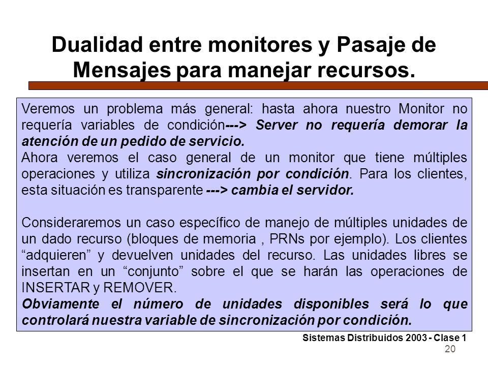 20 Dualidad entre monitores y Pasaje de Mensajes para manejar recursos.