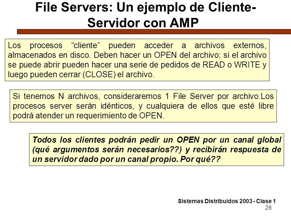 26 File Servers: Un ejemplo de Cliente- Servidor con AMP Los procesos cliente pueden acceder a archivos externos, almacenados en disco.