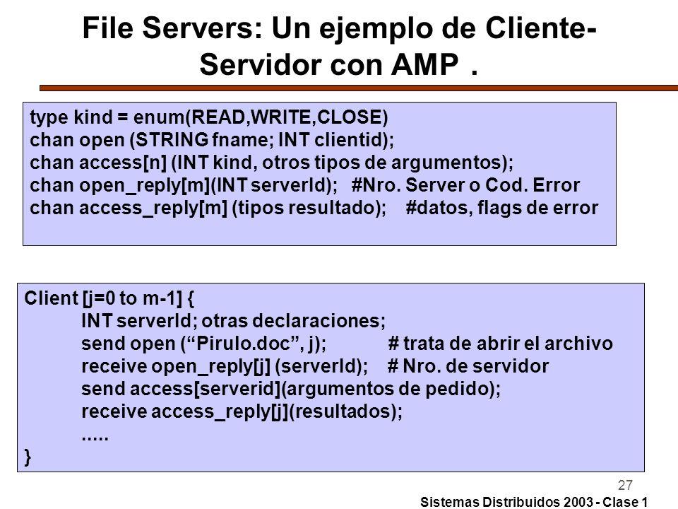 27 File Servers: Un ejemplo de Cliente- Servidor con AMP.