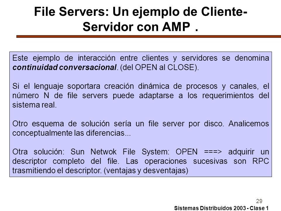 29 File Servers: Un ejemplo de Cliente- Servidor con AMP.