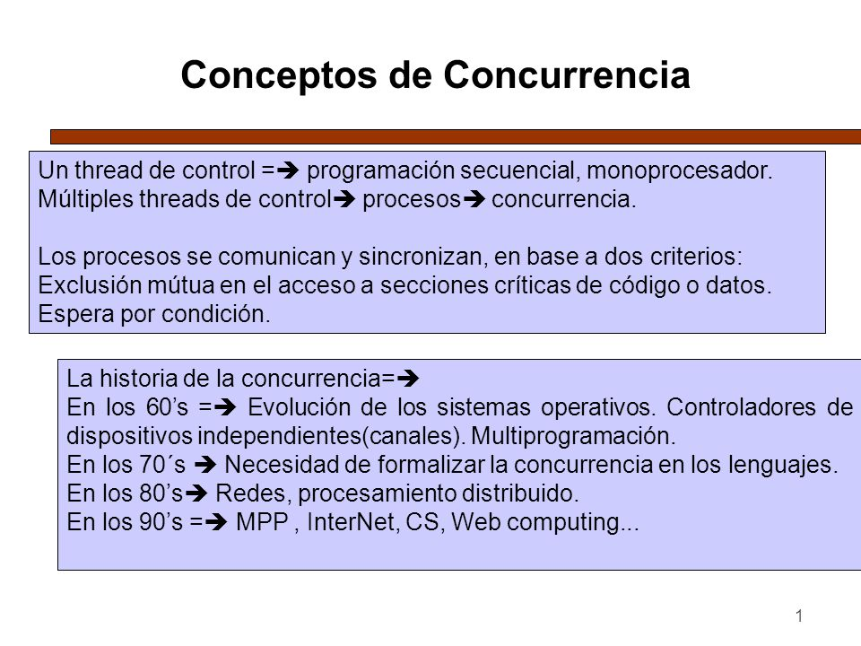 1 Conceptos de Concurrencia Un thread de control = programación secuencial, monoprocesador. Múltiples threads de control procesos concurrencia. Los pr