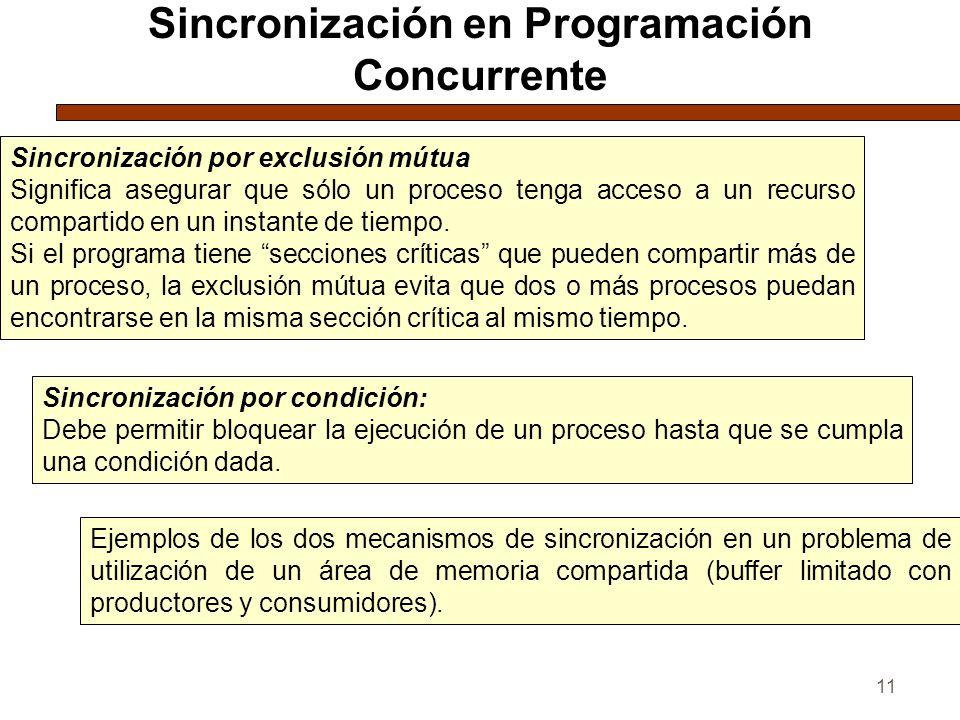 11 Sincronización en Programación Concurrente Sincronización por exclusión mútua Significa asegurar que sólo un proceso tenga acceso a un recurso compartido en un instante de tiempo.