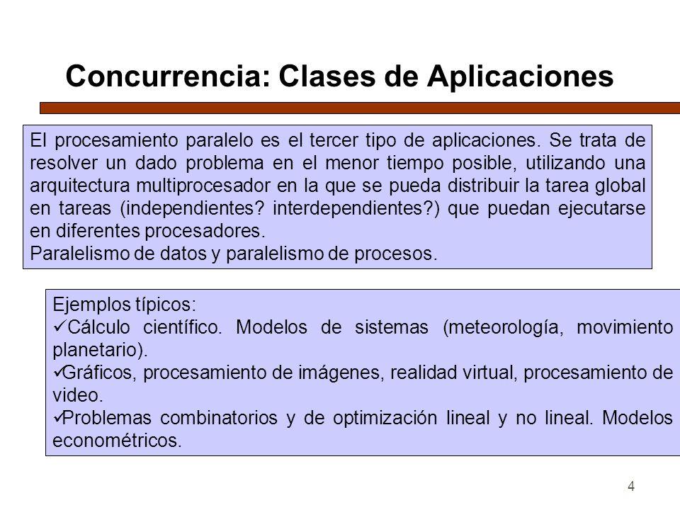 4 Concurrencia: Clases de Aplicaciones El procesamiento paralelo es el tercer tipo de aplicaciones. Se trata de resolver un dado problema en el menor