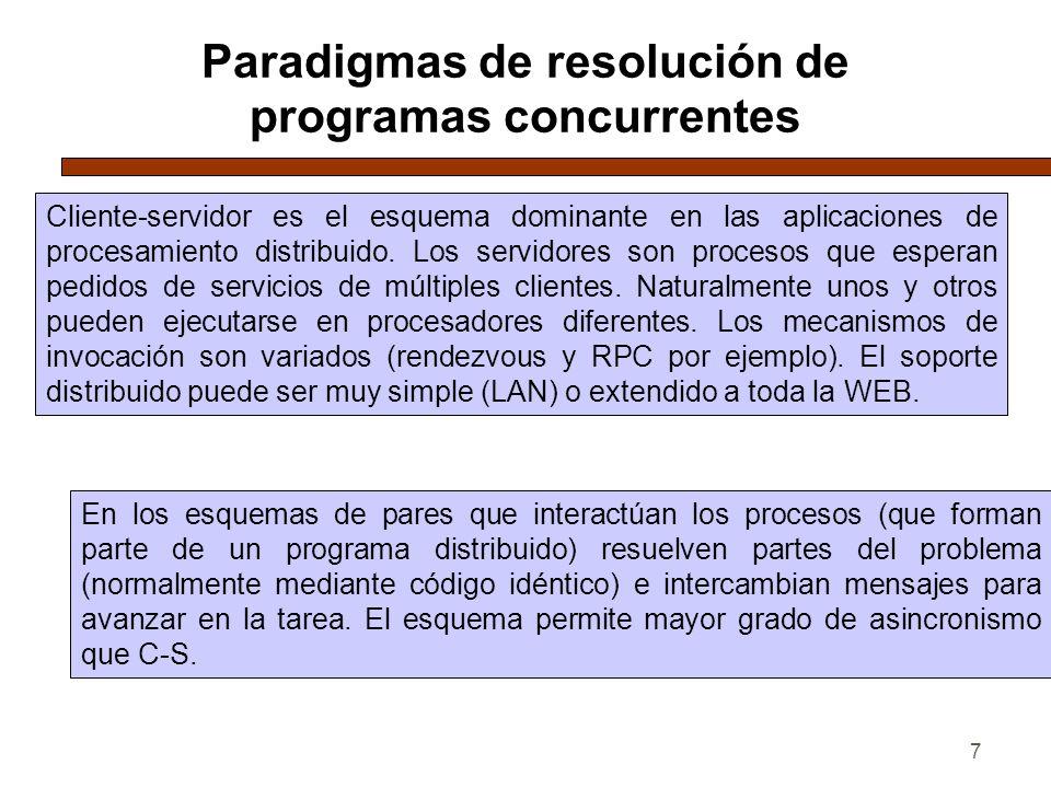 7 Paradigmas de resolución de programas concurrentes Cliente-servidor es el esquema dominante en las aplicaciones de procesamiento distribuido. Los se