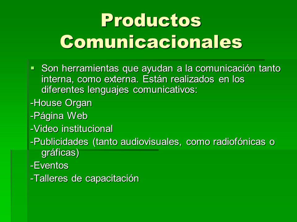 Productos Comunicacionales Son herramientas que ayudan a la comunicación tanto interna, como externa. Están realizados en los diferentes lenguajes com