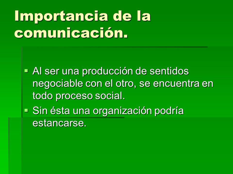 Importancia de la comunicación. Al ser una producción de sentidos negociable con el otro, se encuentra en todo proceso social. Al ser una producción d