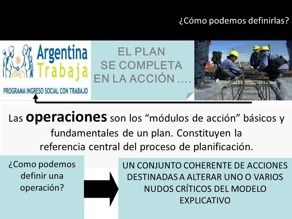 Las operaciones son los módulos de acción básicos y fundamentales de un plan. Constituyen la referencia central del proceso de planificación. EL PLAN