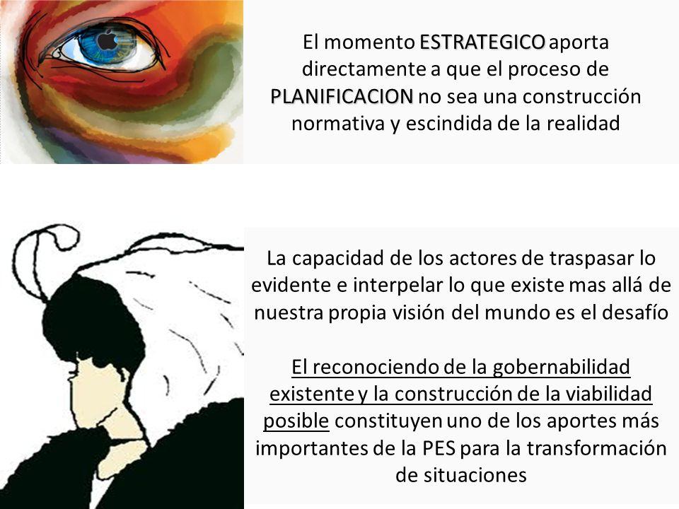 ESTRATEGICO PLANIFICACION El momento ESTRATEGICO aporta directamente a que el proceso de PLANIFICACION no sea una construcción normativa y escindida d