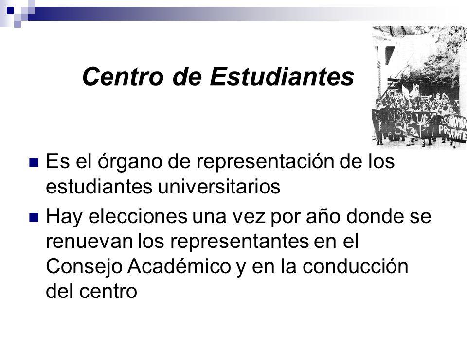 Centro de Estudiantes Es el órgano de representación de los estudiantes universitarios Hay elecciones una vez por año donde se renuevan los representantes en el Consejo Académico y en la conducción del centro