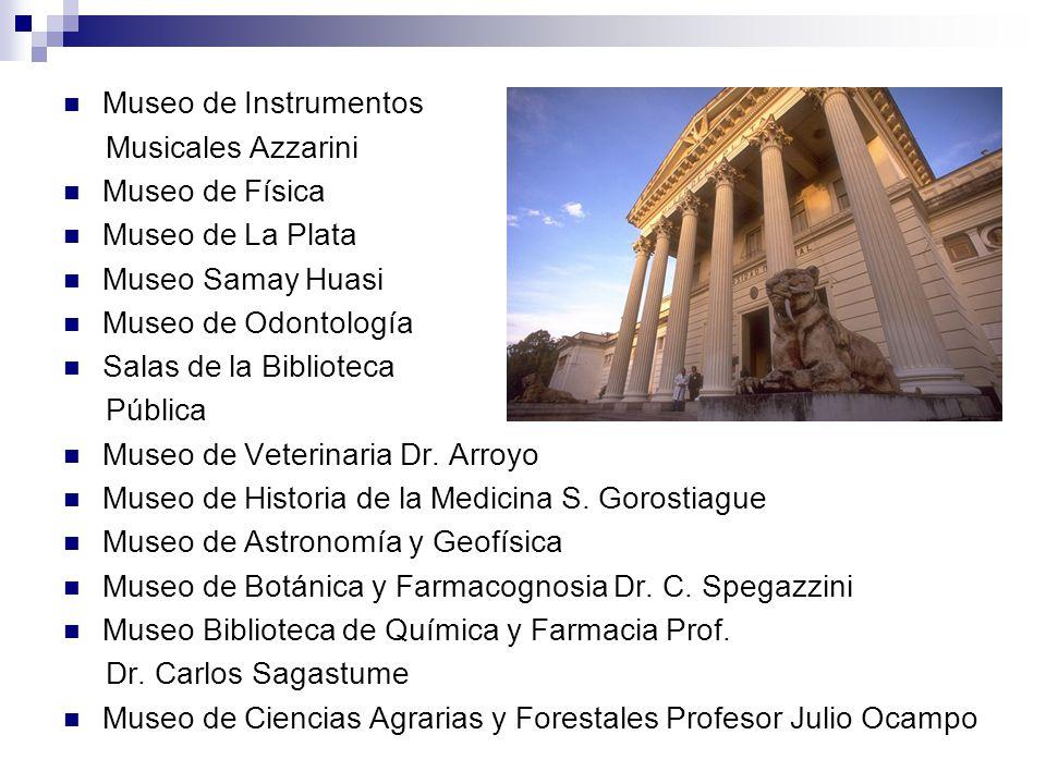 Museo de Instrumentos Musicales Azzarini Museo de Física Museo de La Plata Museo Samay Huasi Museo de Odontología Salas de la Biblioteca Pública Museo de Veterinaria Dr.