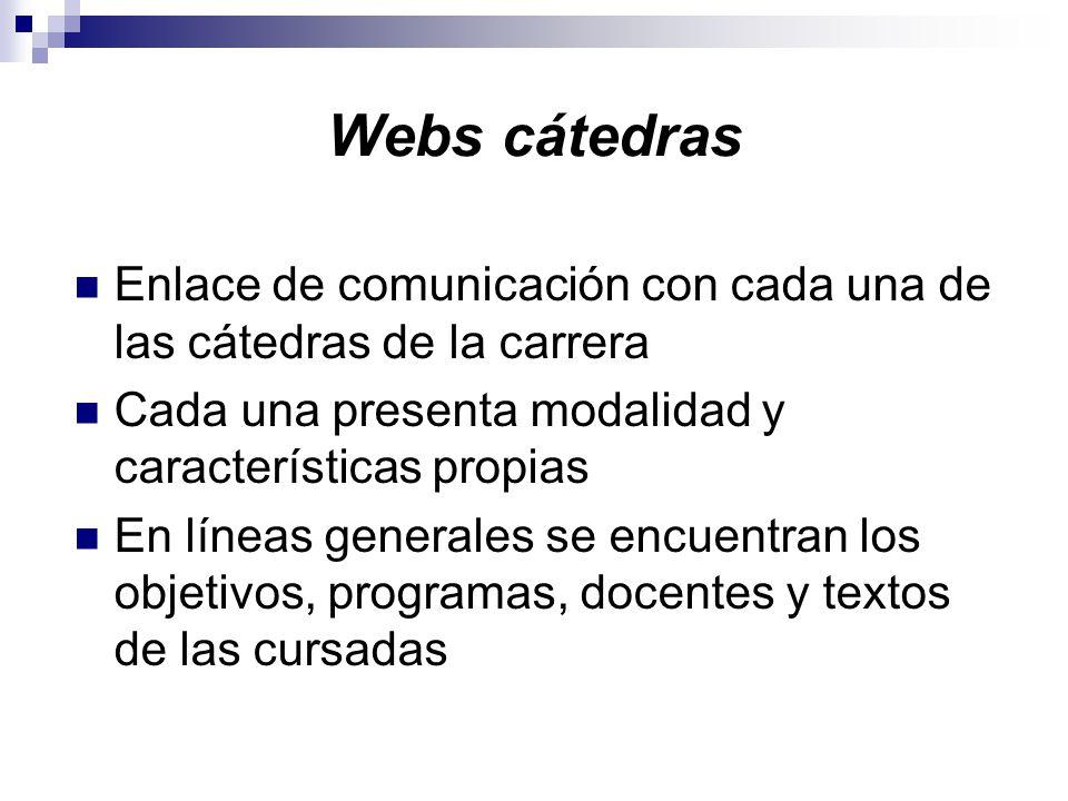 Webs cátedras Enlace de comunicación con cada una de las cátedras de la carrera Cada una presenta modalidad y características propias En líneas generales se encuentran los objetivos, programas, docentes y textos de las cursadas