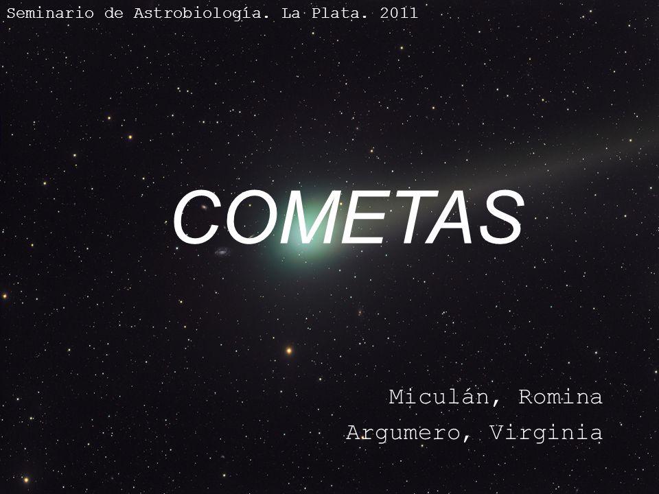 COMETAS Miculán, Romina Argumero, Virginia Seminario de Astrobiología. La Plata. 2011