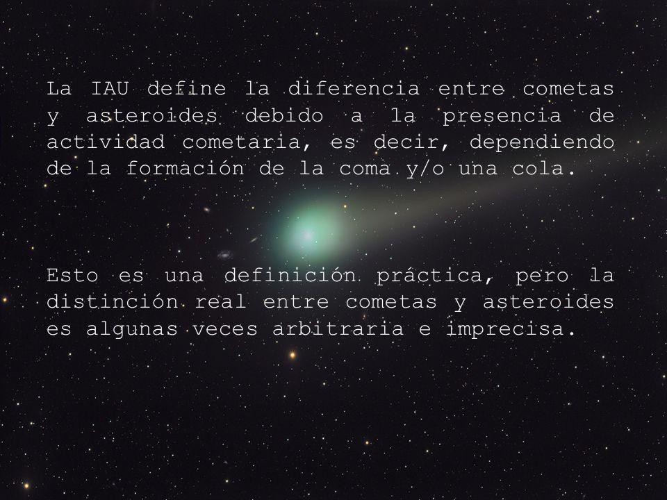 La IAU define la diferencia entre cometas y asteroides debido a la presencia de actividad cometaria, es decir, dependiendo de la formación de la coma y/o una cola.