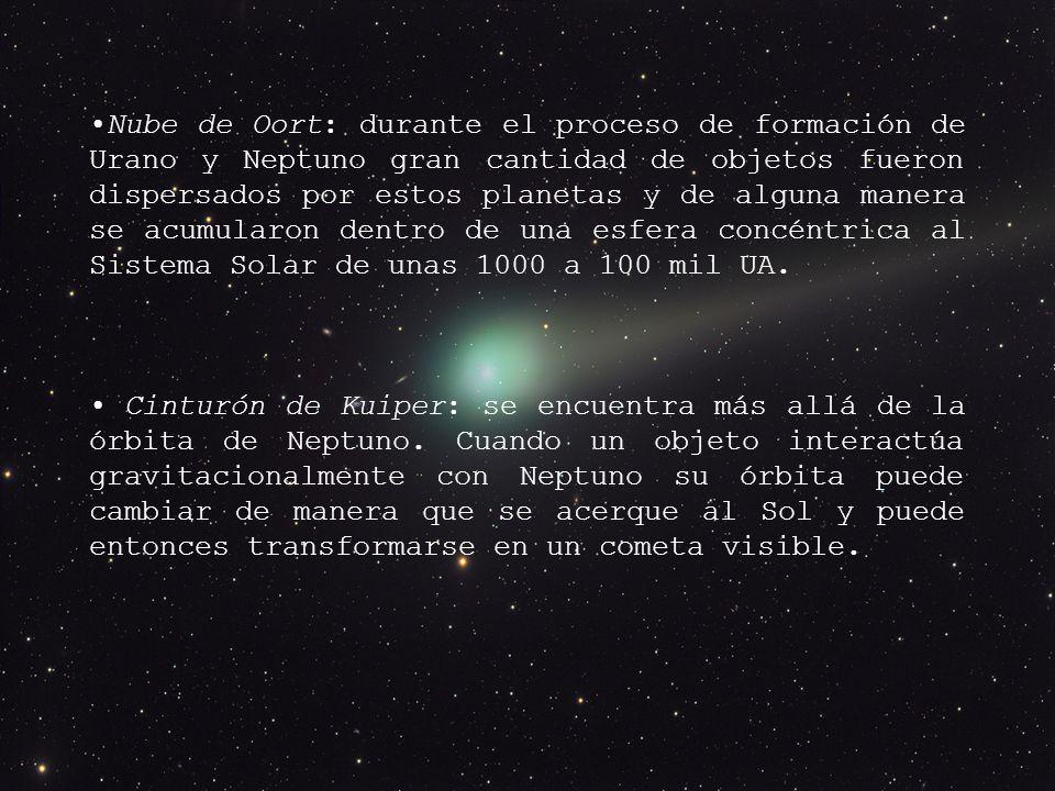 Nube de Oort: durante el proceso de formación de Urano y Neptuno gran cantidad de objetos fueron dispersados por estos planetas y de alguna manera se acumularon dentro de una esfera concéntrica al Sistema Solar de unas 1000 a 100 mil UA.