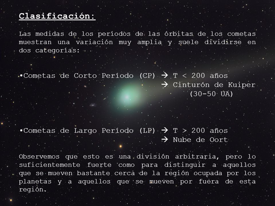 Clasificación: Las medidas de los períodos de las órbitas de los cometas muestran una variación muy amplia y suele dividirse en dos categorías: Cometas de Corto Período (CP) T < 200 años Cinturón de Kuiper (30-50 UA) Cometas de Largo Período (LP) T > 200 años Nube de Oort Observemos que esto es una división arbitraria, pero lo suficientemente fuerte como para distinguir a aquellos que se mueven bastante cerca de la región ocupada por los planetas y a aquellos que se mueven por fuera de esta región.