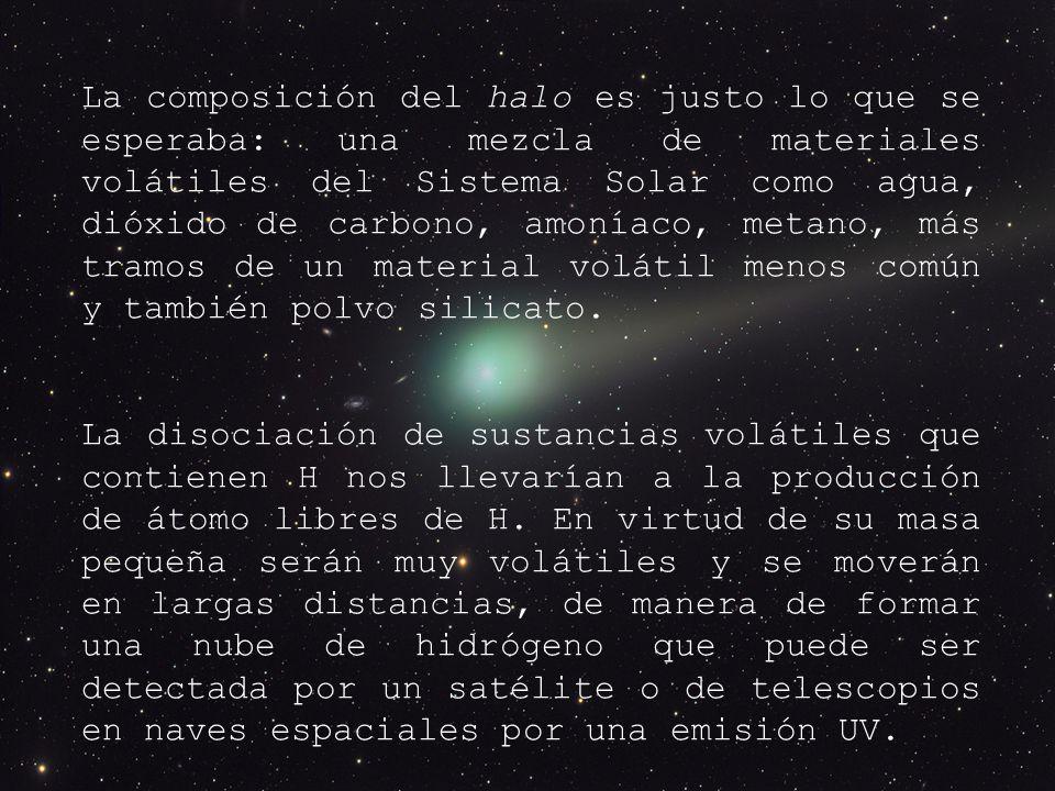 La composición del halo es justo lo que se esperaba: una mezcla de materiales volátiles del Sistema Solar como agua, dióxido de carbono, amoníaco, metano, más tramos de un material volátil menos común y también polvo silicato.