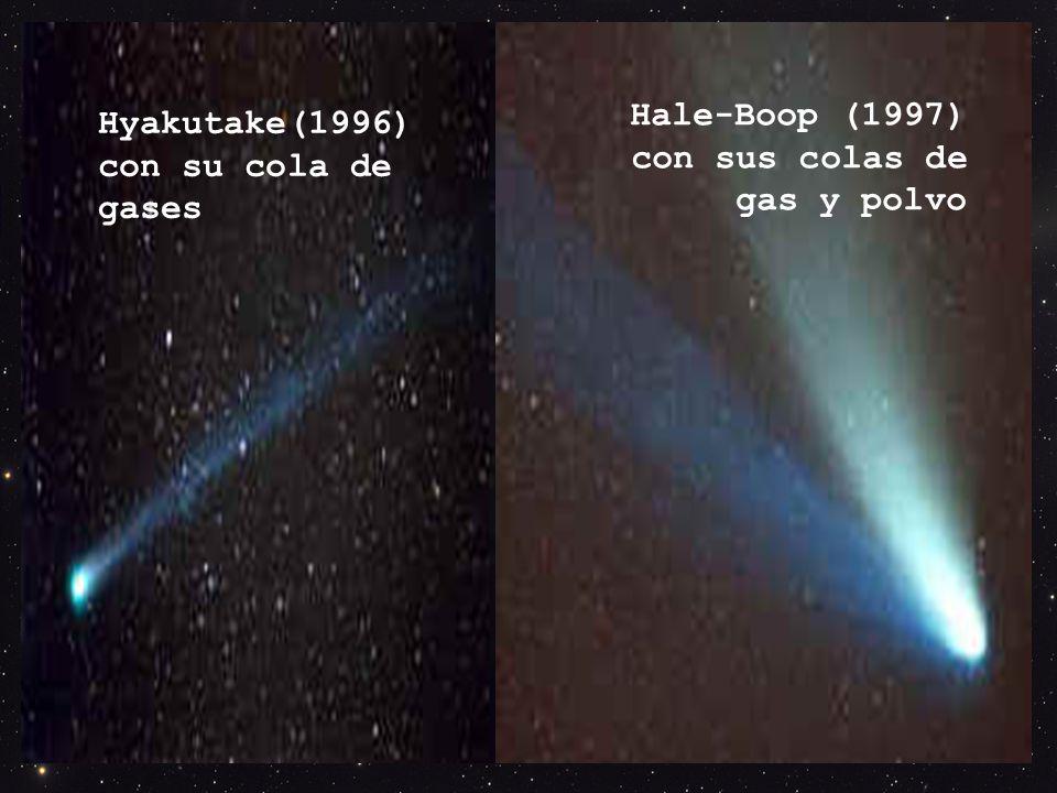 Hale-Boop (1997) con sus colas de gas y polvo Hyakutake(1996) con su cola de gases