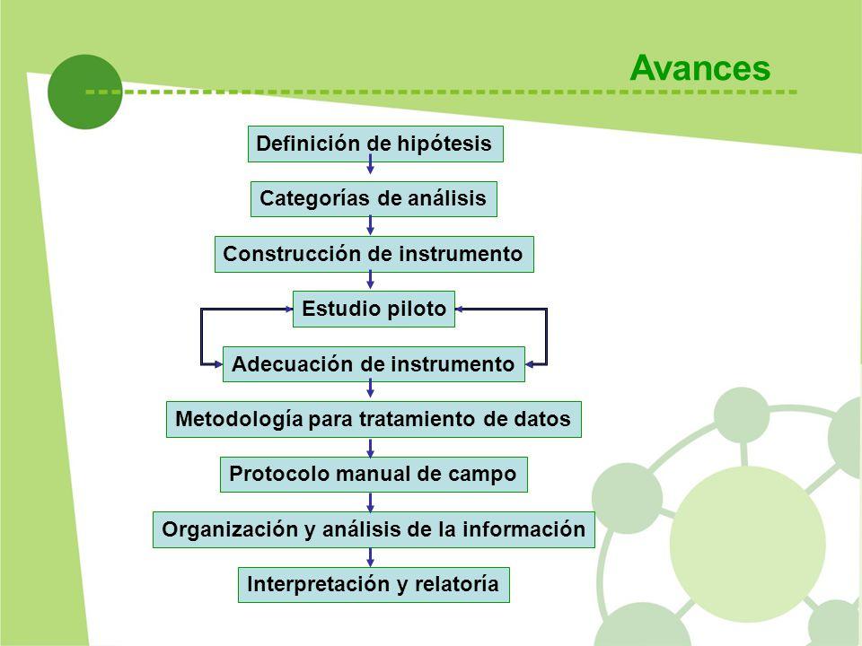 Avances Definición de hipótesis Categorías de análisis Construcción de instrumento Estudio piloto Adecuación de instrumento Metodología para tratamien