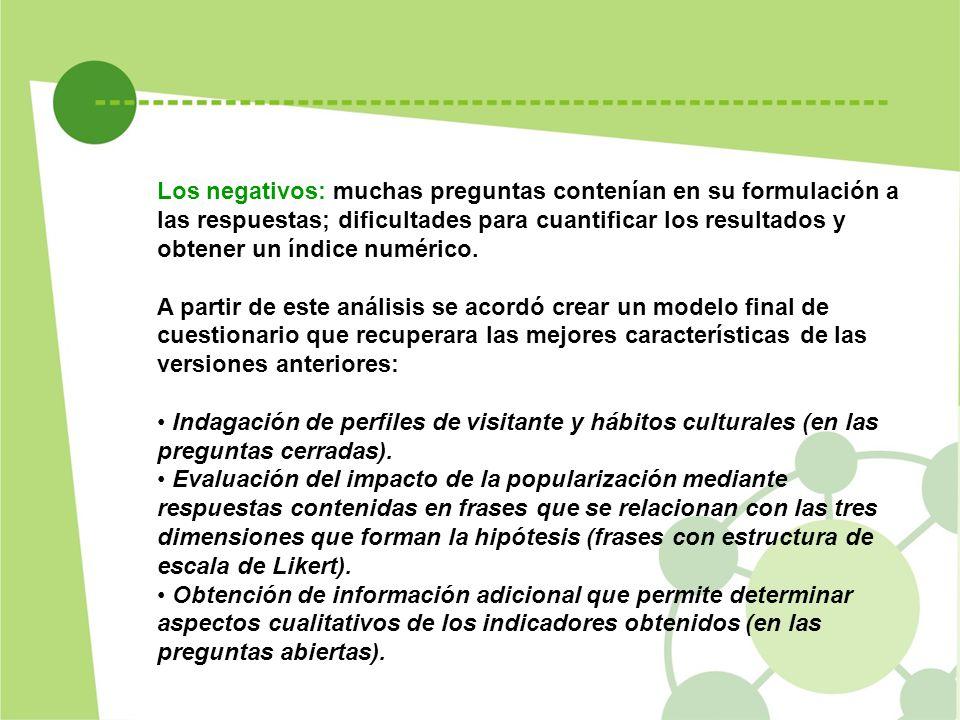 Los negativos: muchas preguntas contenían en su formulación a las respuestas; dificultades para cuantificar los resultados y obtener un índice numéric