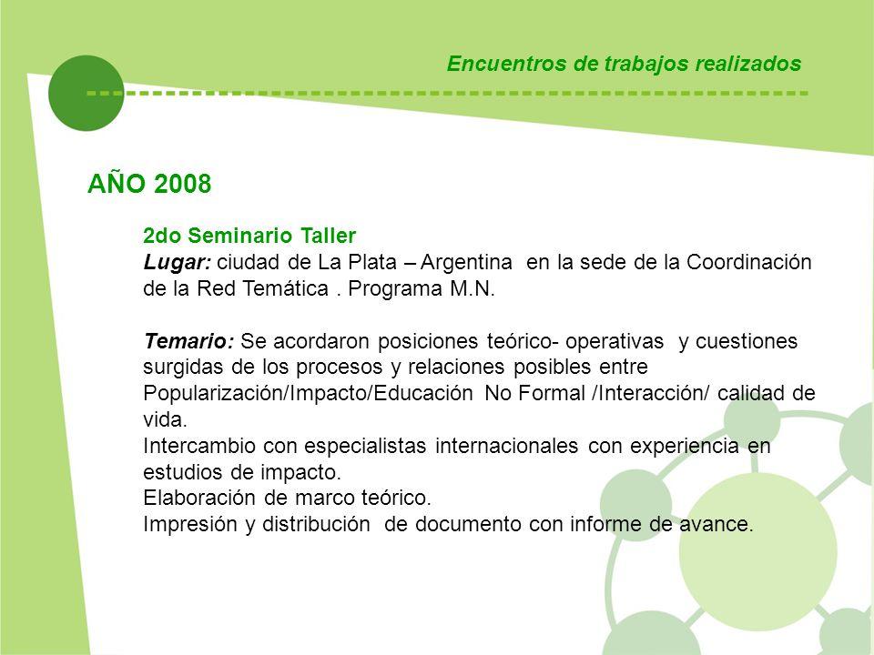 Encuentros de trabajos realizados 2do Seminario Taller Lugar: ciudad de La Plata – Argentina en la sede de la Coordinación de la Red Temática. Program