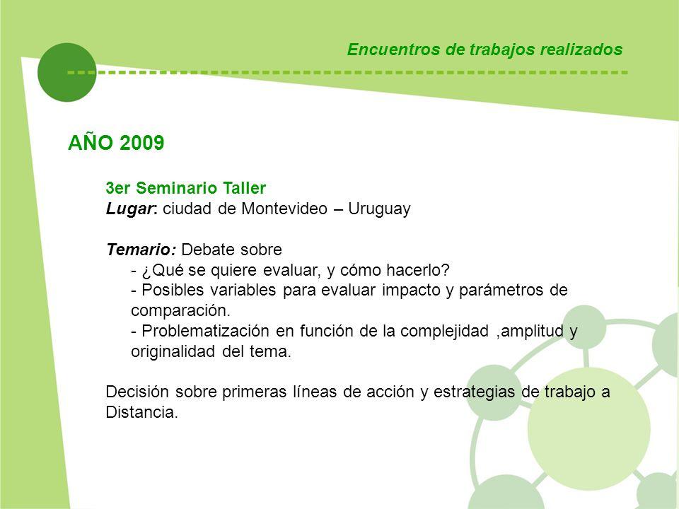 Encuentros de trabajos realizados AÑO 2009 3er Seminario Taller Lugar: ciudad de Montevideo – Uruguay Temario: Debate sobre - ¿Qué se quiere evaluar, y cómo hacerlo.