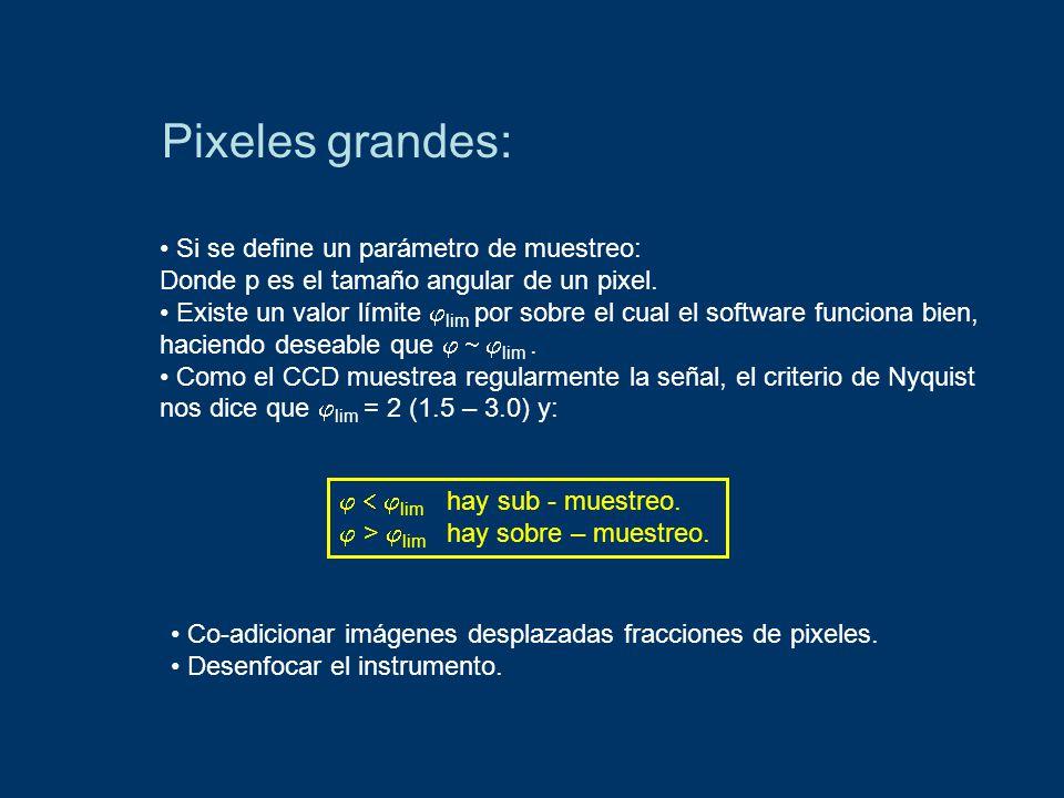 Pixeles grandes: Si se define un parámetro de muestreo: Donde p es el tamaño angular de un pixel.