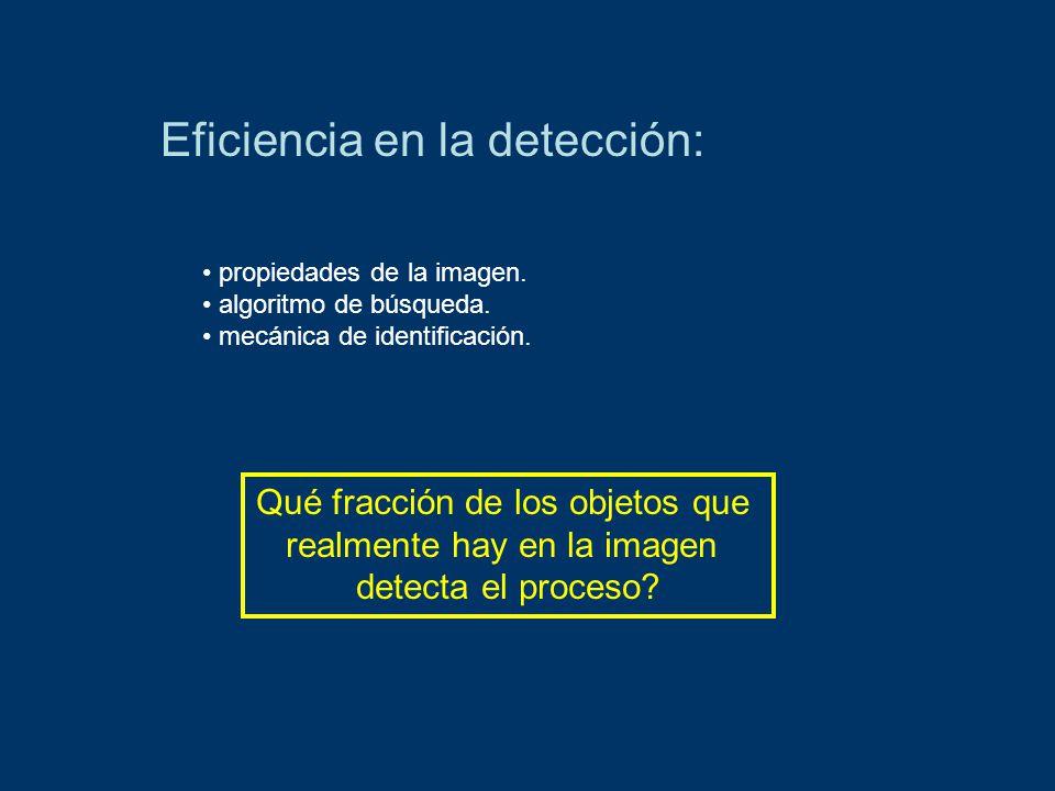 Eficiencia en la detección: determinar la PSF.fijar rango magnitudes (20 – 26).