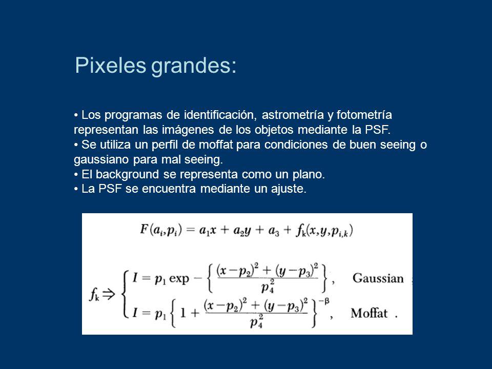 Pixeles grandes: Los programas de identificación, astrometría y fotometría representan las imágenes de los objetos mediante la PSF.