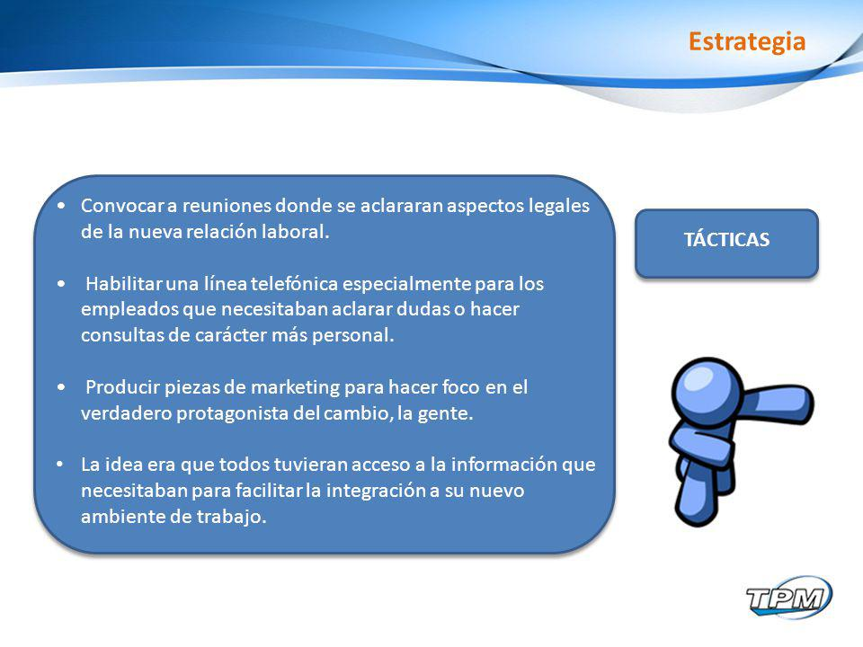 Estrategia Convocar a reuniones donde se aclararan aspectos legales de la nueva relación laboral.
