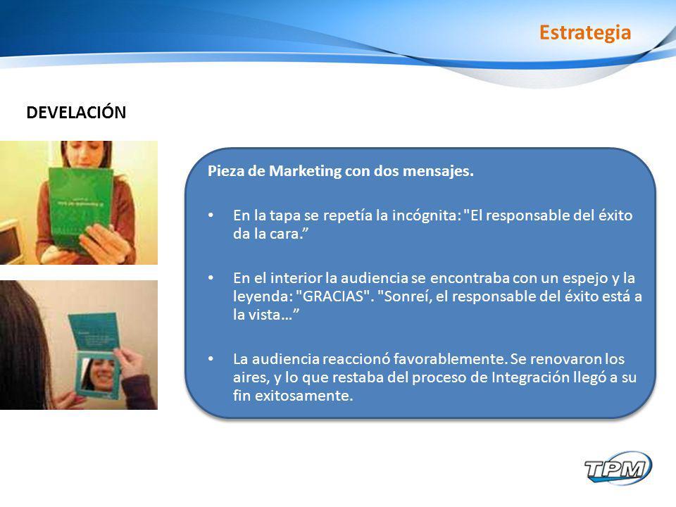 Estrategia Pieza de Marketing con dos mensajes.
