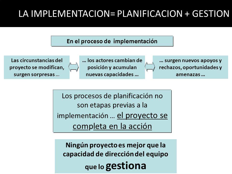 Los procesos de planificación no son etapas previas a la implementación … el proyecto se completa en la acción En el proceso de implementación … Las c