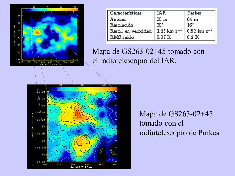 Mapa de GS263-02+45 tomado con el radiotelescopio del IAR.