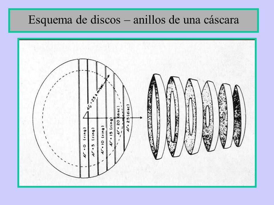 Esquema de discos – anillos de una cáscara