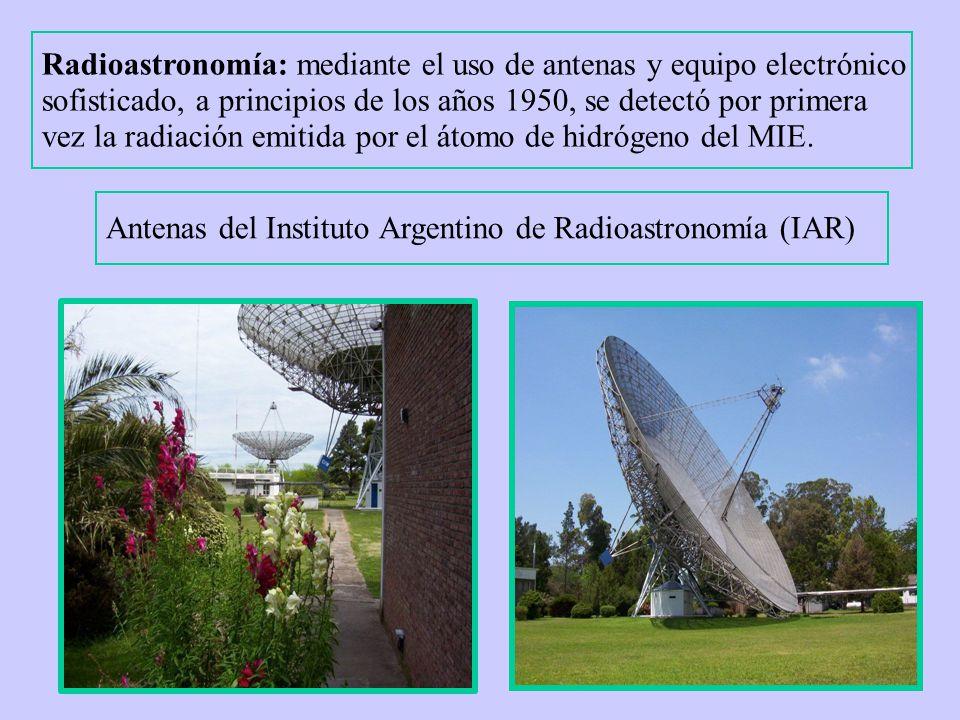 Radioastronomía: mediante el uso de antenas y equipo electrónico sofisticado, a principios de los años 1950, se detectó por primera vez la radiación emitida por el átomo de hidrógeno del MIE.