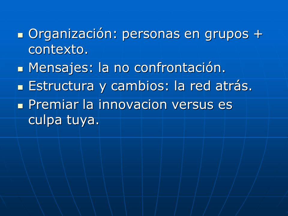 Organización: personas en grupos + contexto. Organización: personas en grupos + contexto.