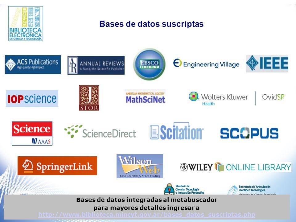 Bases de datos integradas al metabuscador para mayores detalles ingresar a http://www.biblioteca.mincyt.gov.ar/bases_datos_suscriptas.php http://www.biblioteca.mincyt.gov.ar/bases_datos_suscriptas.php Bases de datos suscriptas