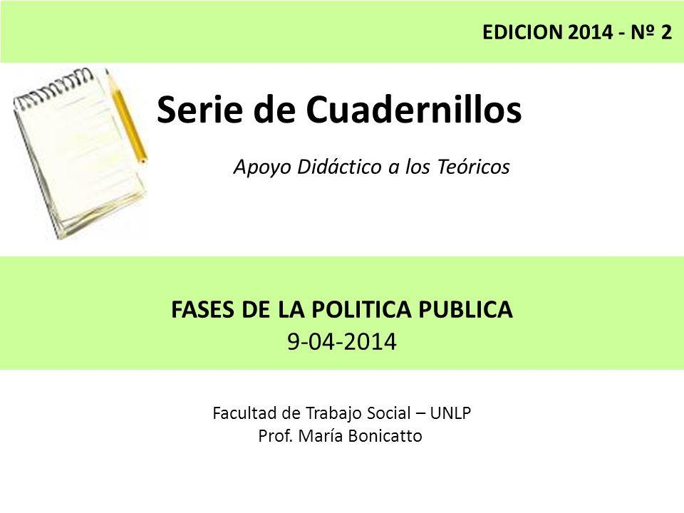 Serie de Cuadernillos Apoyo Didáctico a los Teóricos Facultad de Trabajo Social – UNLP Prof. María Bonicatto EDICION 2014 - Nº 2 FASES DE LA POLITICA