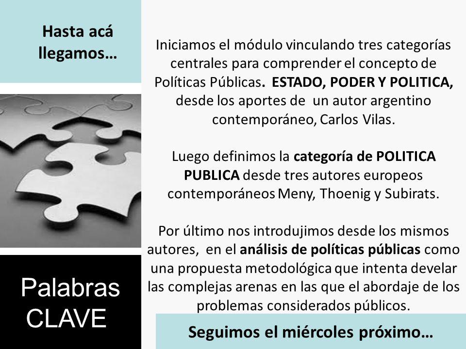 Hasta acá llegamos… Iniciamos el módulo vinculando tres categorías centrales para comprender el concepto de Políticas Públicas. ESTADO, PODER Y POLITI