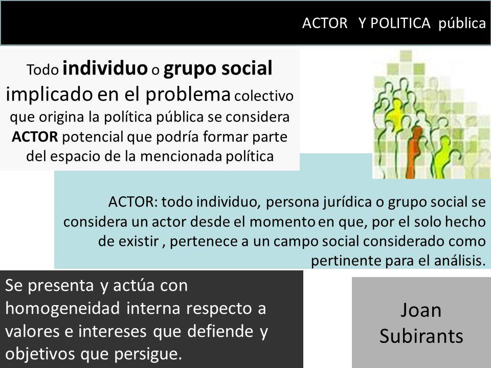 ACTOR: todo individuo, persona jurídica o grupo social se considera un actor desde el momento en que, por el solo hecho de existir, pertenece a un cam