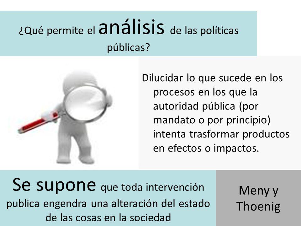 Por lo tanto… si se supone, es porque reconoce que puede no lograrlo El análisis de políticas públicas permite conocer mejor porque y como los productos suministrados por la autoridad pública no engendran los efectos previstos.